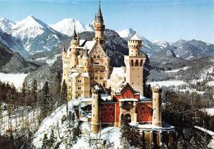 Koenigsschloss Neuschwanstein Snowy Castle Chateau Mountains