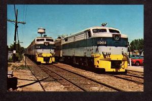 NY Long Island Railroad Train Loco 601 & 602 Kings Park New York Postcard RR PC