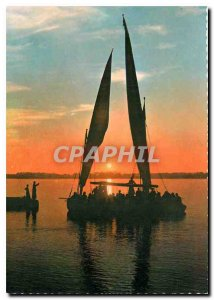 Postcard Modern Egypt Cairo Sunset on the Nile