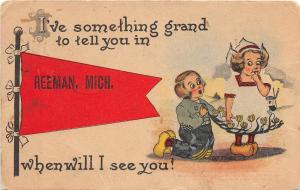 <A2> Michigan Mi PENNANT Postcard 1915 REEMAN Kids SOMETHING GRAND TO TELL