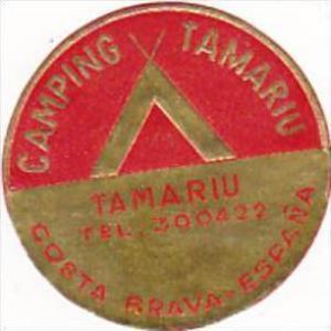 SPAIN COSTA BRAVA CAMPING TAMARIU VINTAGE LUGGAGE LABEL