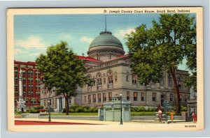 South Bend IN-Indiana, St Joseph County Courthouse, Linen Postcard