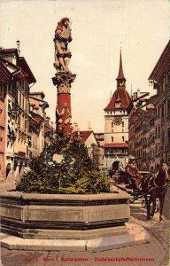 Switzerland Bern Spitalgasse Dudelsackpfeifferbrunnen Fountain Carriage Postcard
