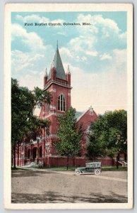 Columbus Mississippi~First Baptist Church~Vintage Cartoon Car~1920s Postcard