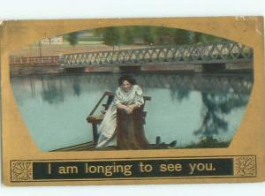 Divided-Back PRETTY WOMAN Risque Interest Postcard AA7852