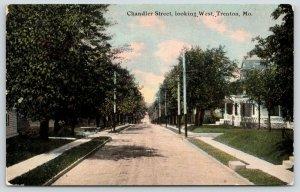Trenton MO Painted Telephone Poles~Dirt Chandler St w/Curbs~Carriage Box~c1910