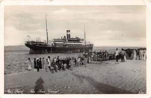 Egypt Port-Said The Suez Canal, Ship Voyage Animated 1935 RPPC