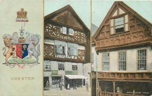 Chester England~Coat of Arms~Lower Bridge Street~Bishop Lloyds House~1908 PC