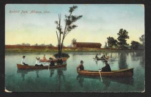 Rockhill Park Couples in Canoes Alliance OH Used c1910s
