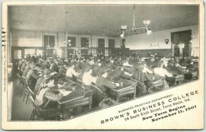 Terre Haute, Indiana Advertising Postcard BROWN'S BUSINESS COLLEGE 1907 Cancel