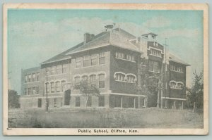Clifton Kansas~Public School~Postcard 1920s From Charles Limbry of Vining KS