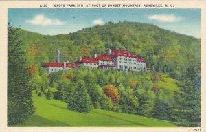 North Carolina Asheville Grove Park Inn At Foot Of Sunset Mountain Albertype