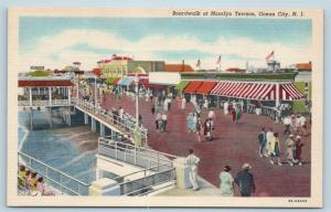 Postcard NJ Ocean City Boardwalk at Moorlyn Terrance Vintage Linen N17