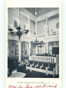 Vintage Post Card Jewish  Touro Interior Synagogue Newport  R I   # 4117