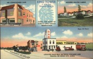 Tama IA King Tower NICE ROADSIDE LINEN Gas Station Postcard - TRUCKS