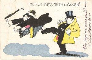 Nuova Maschine per Volare Humorous old vintage Italian postcard