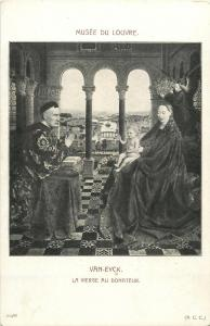 Early art postcard Virgin to the donor by Van Eyck