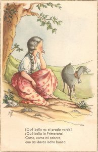 Little girl with her sheep in the mountain. Poem Vintage Spanish postcard