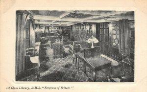 LP67   Ship  R.M.S. Empress Britain Vintage Postcard 1st Class Library
