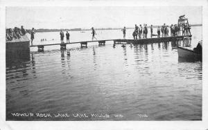 Lake Mills Wisconsin~Howe's Rock Lake~Boys Swimming/Standing on Dock~1926 PC