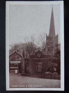 Birmingham ASTON CHURCH & PARK ENTRANCE showing Omnibus  - Old Postcard