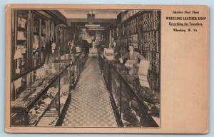 Postcard WV Wheeling Interior View Wheeling Leather Shop Store c1912 S19