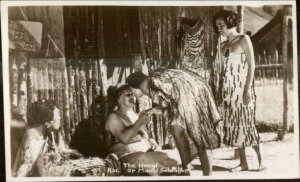 New Zealand Maori Natives The Hongi Salutation Real Photo Postcard