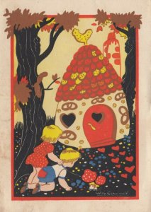 AS: SCHERMELE; 1920-30s; Hansel and Gretel looking at candy house