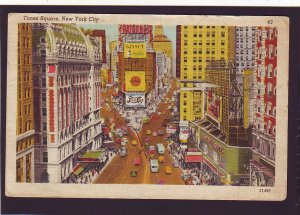 P1516  1948 pm postcard busy time square new york w/pepsi sign