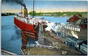 Ludington, Michigan Postcard Michigan State Ferry Dock View KROPP Linen c1940s