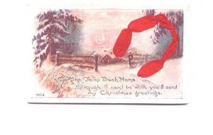 Lucky Horseshoe Made of Real Cloth Ribbon, Layered Christmas,Used 1920