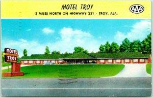 Troy, Alabama Postcard MOTEL TROY Highway 231 Roadside Chrome 1959 ALA. Cancel