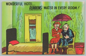 Comic Pun~Couple & Umbrella~Running Water Hotel Room~1940s Linen Postcard