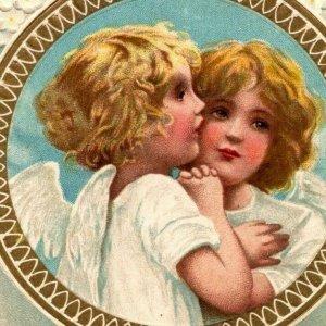 Angels white flower cross gold Dresden frame shining star Easter vtg postcard