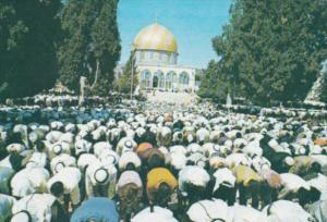 Israel Jerusalem Moslems Praying In The Yard Of The Dome Of The Rock