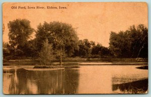 Eldora IA~Old Ford on the Iowa River~Sepia Postcard 1914 Emmert of Claremont SD
