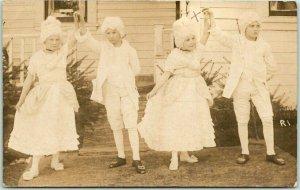 RPPC Real Photo Postcard Children in Colonial Costumes / Dance Scene c1910s