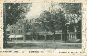 Brandon, Vermont  Brandon Inn 1904 Photo Postcard