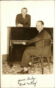Music Duo Piano DUD & RAY Autograph - Hamilton OH Studio Real Photo Postcard