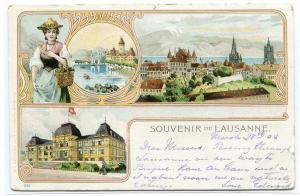 Souvenir de Lausanne Switzerland 1908 postcard