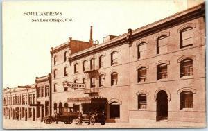 1920s San Luis Obispo, California Postcard HOTEL ANDREWS Street View w/ Auto Bus