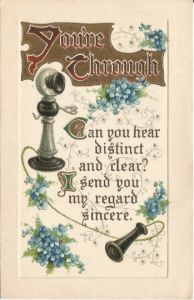Old Fashioned Telephone and Bouquets of Forget Me Nots Embossed Postcard Vintage