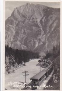 RP, MT. FIELD, B.C., Canada, 1920-1940s; Train On Railroad Tracks, Mt. Field And