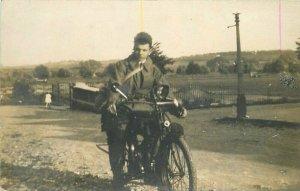 England 1920s Man Motorcycle RPPC Photo Postcard 10966