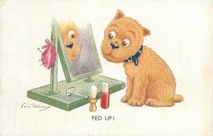 Vera Peterson signed fed up dog mirror caricature 1934 postcard