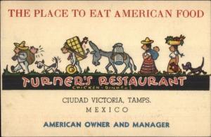 Ciudad Victoria Tamps Mexico Turner's Restaurant American Food Postcard
