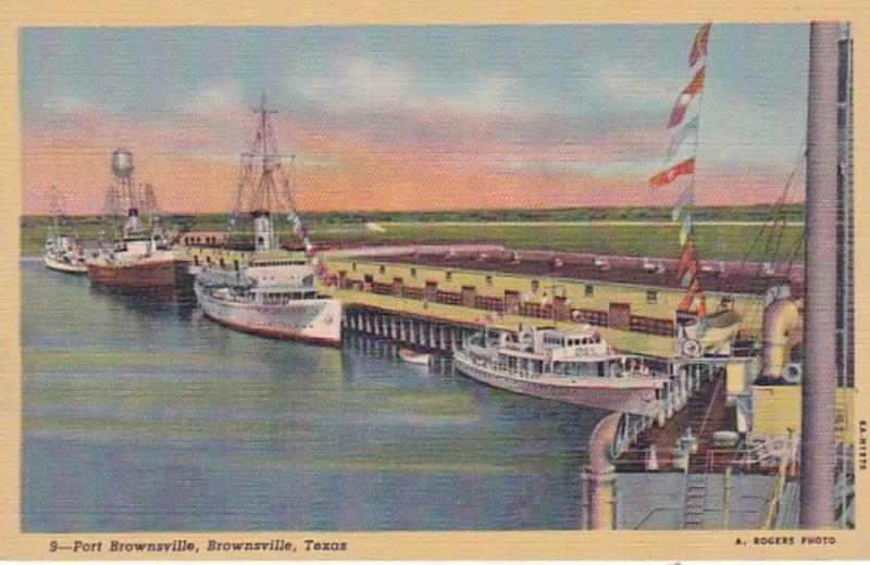 Texas Brownsville Scene At Port Brownsville Curteich