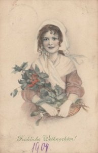 M.M.VIENNE Nr. 338: 1910 , Girl with flowers , Christmas
