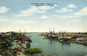 curacao, N.W.I., WILLEMSTAD, Unloading Ships in Harbour (1940s)