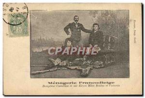 Old Postcard Lion Tamer Camillius Menagerie Franco Belge and Misses students ...